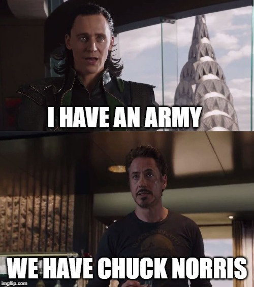 The Avengers Chuck Norris |  I HAVE AN ARMY; WE HAVE CHUCK NORRIS | image tagged in we have a hulk,avengers,chuck norris,memes | made w/ Imgflip meme maker