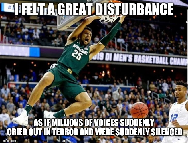 Michigan State vs Duke | I FELT A GREAT DISTURBANCE AS IF MILLIONS OF VOICES SUDDENLY CRIED OUT IN TERROR AND WERE SUDDENLY SILENCED | image tagged in michigan state,msu,duke,duke basketball,ncaa,march madness | made w/ Imgflip meme maker