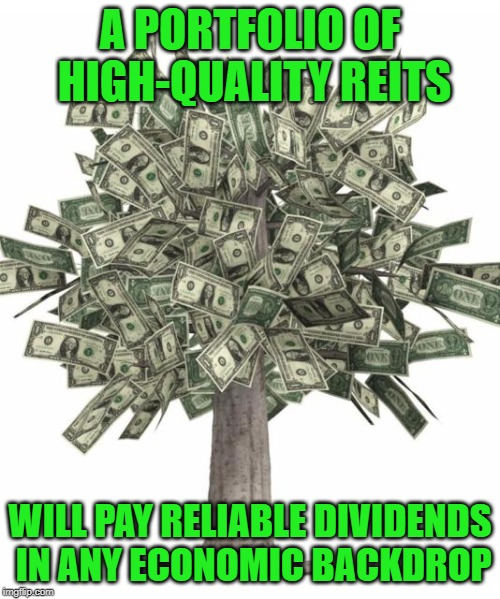 A PORTFOLIO OF HIGH-QUALITY REITS WILL PAY RELIABLE DIVIDENDS IN ANY ECONOMIC BACKDROP | made w/ Imgflip meme maker