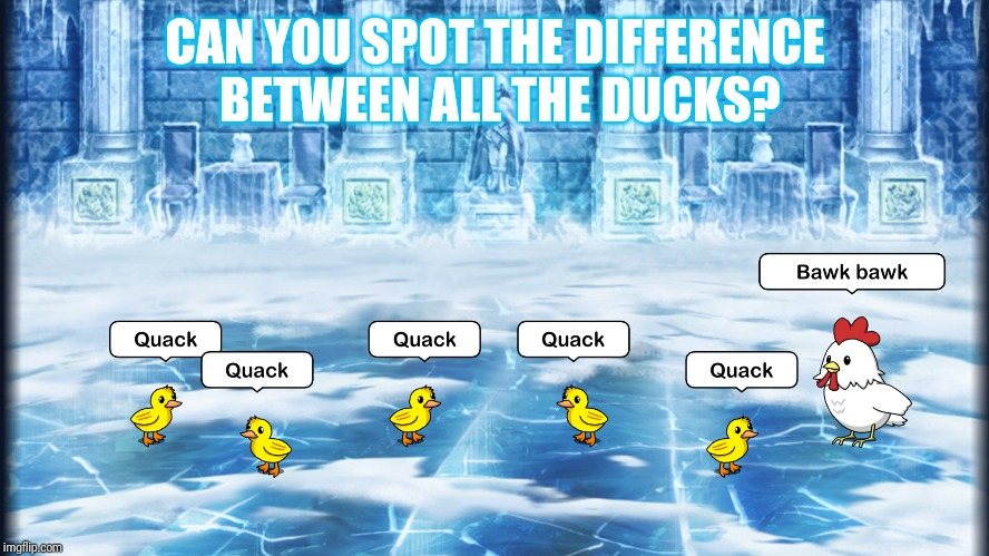 Spot the chicken | CAN YOU SPOT THE DIFFERENCE BETWEEN ALL THE DUCKS? | image tagged in ducks,spot the difference,chicken | made w/ Imgflip meme maker
