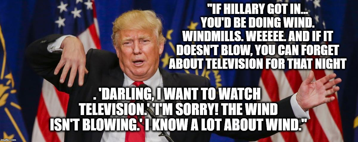 "I know a lot about wind, believe me. | ""IF HILLARY GOT IN... YOU'D BE DOING WIND. WINDMILLS. WEEEEE. AND IF IT DOESN'T BLOW, YOU CAN FORGET ABOUT TELEVISION FOR THAT NIGHT . 'DARL 