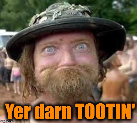 Hillbilly | Yer darn TOOTIN' | image tagged in hillbilly | made w/ Imgflip meme maker