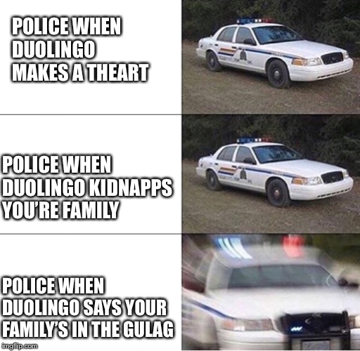 Police Car  | POLICE WHEN DUOLINGO MAKES A THEART POLICE WHEN DUOLINGO KIDNAPPS YOU'RE FAMILY POLICE WHEN DUOLINGO SAYS YOUR FAMILY'S IN THE GULAG | image tagged in police car | made w/ Imgflip meme maker