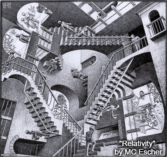 "Do We Ever Get Where We are Going? |  ""Relativity"" by MC Escher 