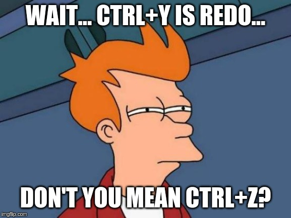 Futurama Fry Meme | WAIT... CTRL+Y IS REDO... DON'T YOU MEAN CTRL+Z? | image tagged in memes,futurama fry | made w/ Imgflip meme maker