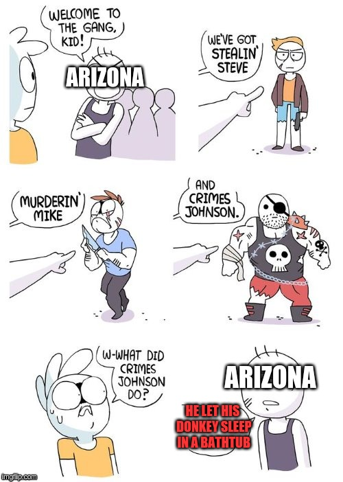 Theres a law in arizona preventing people from letting donkeys sleep in bathtubs (Ludicrous Laws Week April 1st to April 7th) | ARIZONA HE LET HIS DONKEY SLEEP IN A BATHTUB ARIZONA | image tagged in crimes johnson,aprilfoolsweek | made w/ Imgflip meme maker