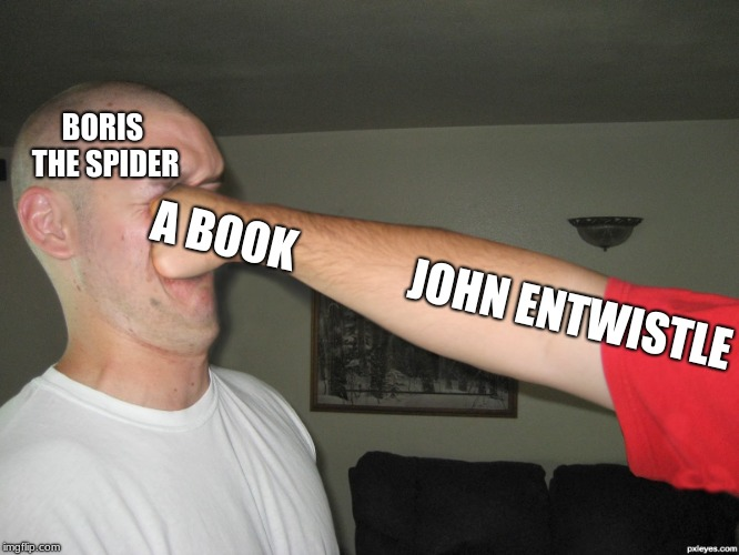Face punch | BORIS THE SPIDER A BOOK             JOHN ENTWISTLE | image tagged in face punch | made w/ Imgflip meme maker