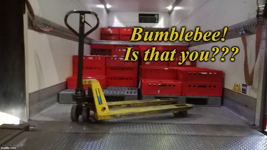 Autobot co-worker... | Bumblebee! Is that you??? | image tagged in bumblebee,bumblebeemovie | made w/ Imgflip meme maker
