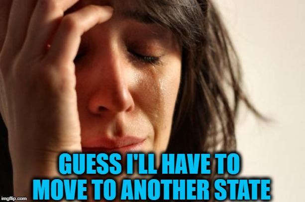 First World Problems Meme | GUESS I'LL HAVE TO MOVE TO ANOTHER STATE | image tagged in memes,first world problems | made w/ Imgflip meme maker