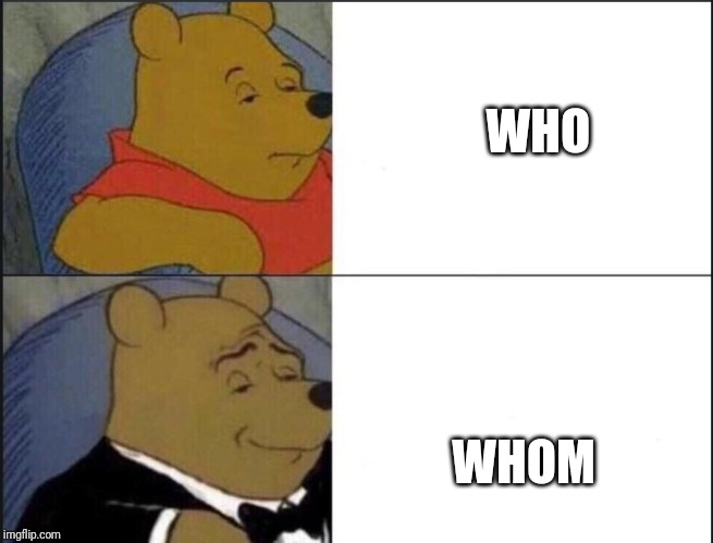 Tuxedo Winnie The Pooh | WHO WHOM | image tagged in winnie the pooh template,memes,funny,who,whom | made w/ Imgflip meme maker