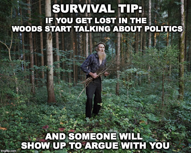 You're Never Really Alone | SURVIVAL TIP: AND SOMEONE WILL SHOW UP TO ARGUE WITH YOU IF YOU GET LOST IN THE WOODS START TALKING ABOUT POLITICS | image tagged in survival,politics | made w/ Imgflip meme maker