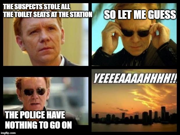 This joke is older than dirt | THE SUSPECTS STOLE ALL THE TOILET SEATS AT THE STATION SO LET ME GUESS THE POLICE HAVE NOTHING TO GO ON | image tagged in csi,memes,toilet | made w/ Imgflip meme maker
