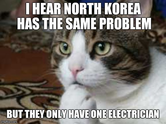 Ponder cat | I HEAR NORTH KOREA HAS THE SAME PROBLEM BUT THEY ONLY HAVE ONE ELECTRICIAN | image tagged in ponder cat | made w/ Imgflip meme maker