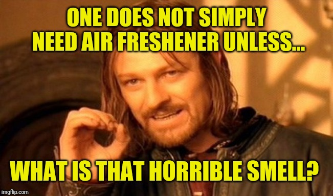 One Does Not Simply Meme | ONE DOES NOT SIMPLY NEED AIR FRESHENER UNLESS... WHAT IS THAT HORRIBLE SMELL? | image tagged in memes,one does not simply | made w/ Imgflip meme maker