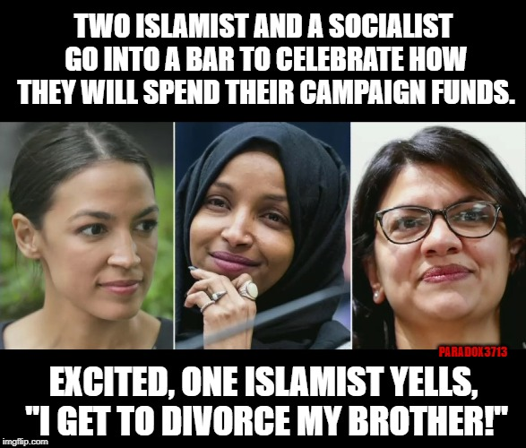 "Entitled Freshmen make for great campaign fund violators. | TWO ISLAMIST AND A SOCIALIST GO INTO A BAR TO CELEBRATE HOW THEY WILL SPEND THEIR CAMPAIGN FUNDS. EXCITED, ONE ISLAMIST YELLS, ""I GET TO DIV 