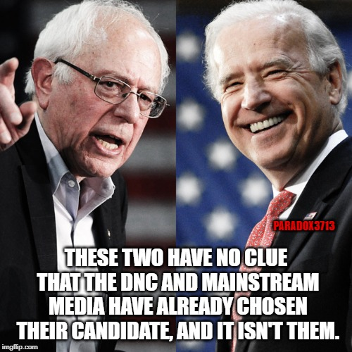 Seriously, find a Detective and get a Clue.  You won't survive the Primaries. | PARADOX3713 THESE TWO HAVE NO CLUE THAT THE DNC AND MAINSTREAM MEDIA HAVE ALREADY CHOSEN THEIR CANDIDATE, AND IT ISN'T THEM. | image tagged in memes,dnc,corruption,voter fraud,bernie sanders,joe biden | made w/ Imgflip meme maker
