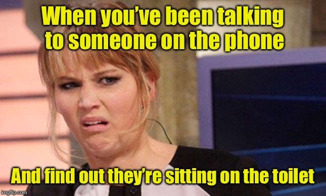 Is it worse than when making this meme? | When you've been talking to someone on the phone And find out they're sitting on the toilet | image tagged in grossed out,toilet | made w/ Imgflip meme maker