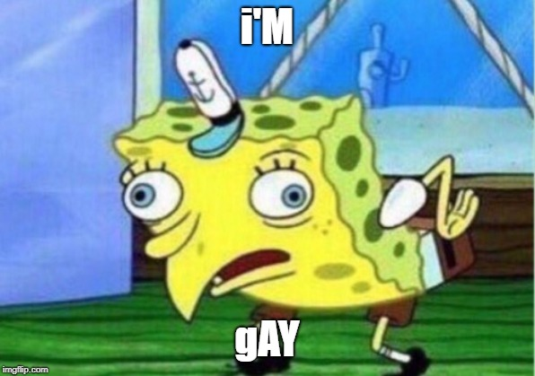 Mocking Spongebob |  i'M; gAY | image tagged in memes,mocking spongebob | made w/ Imgflip meme maker