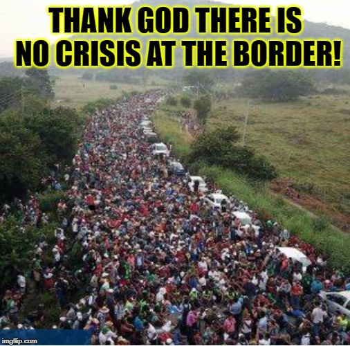 Have You People Gone Crazy? It's Just a few Families. | THANK GOD THERE IS NO CRISIS AT THE BORDER! | image tagged in vince vance,national emergency,illegal immigrants,border wall,open borders,migrant caravan | made w/ Imgflip meme maker