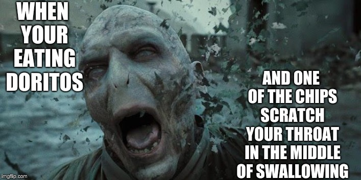 Can anyone else relate? |  WHEN YOUR EATING DORITOS; AND ONE OF THE CHIPS SCRATCH YOUR THROAT IN THE MIDDLE OF SWALLOWING | image tagged in voldemort,fun,memes,doritos | made w/ Imgflip meme maker