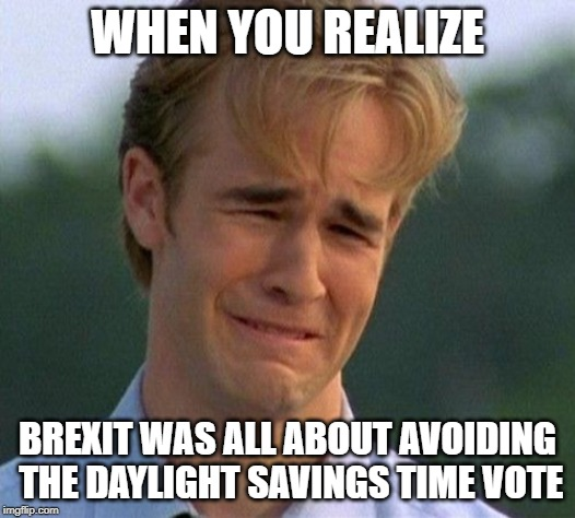 1990s First World Problems | WHEN YOU REALIZE BREXIT WAS ALL ABOUT AVOIDING THE DAYLIGHT SAVINGS TIME VOTE | image tagged in memes,1990s first world problems | made w/ Imgflip meme maker
