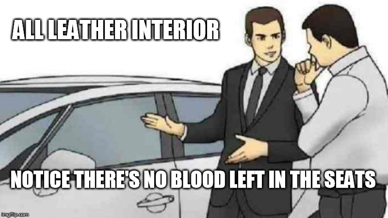 Car Salesman Slaps Roof Of Car Meme Imgflip