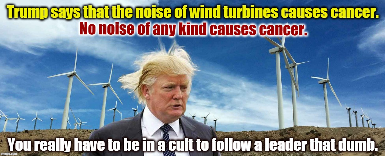 Trump says that the noise of wind turbines causes cancer. You really have to be in a cult to follow a leader that dumb. No noise of any kind | image tagged in trump,wind,wind turbines,cancer,noise,cult | made w/ Imgflip meme maker