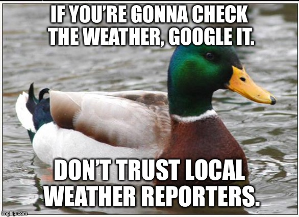 Google weather vs. Fake News forecasts | IF YOU'RE GONNA CHECK THE WEATHER, GOOGLE IT. DON'T TRUST LOCAL WEATHER REPORTERS. | image tagged in memes,actual advice mallard,weather,reporter,fake news,google | made w/ Imgflip meme maker