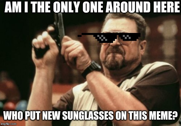Am I The Only One Around Here | AM I THE ONLY ONE AROUND HERE WHO PUT NEW SUNGLASSES ON THIS MEME? | image tagged in memes,am i the only one around here,sunglasses,human | made w/ Imgflip meme maker