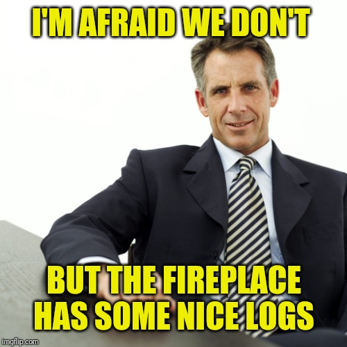 Manager | I'M AFRAID WE DON'T BUT THE FIREPLACE HAS SOME NICE LOGS | image tagged in manager | made w/ Imgflip meme maker