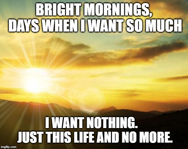 sunrise | BRIGHT MORNINGS, DAYS WHEN I WANT SO MUCH I WANT NOTHING.    JUST THIS LIFE AND NO MORE. | image tagged in sunrise | made w/ Imgflip meme maker