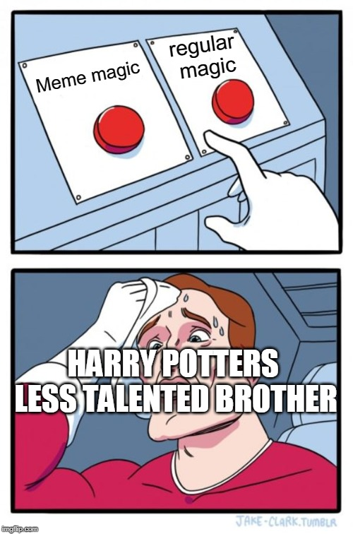 Two Buttons | Meme magic regular magic HARRY POTTERS LESS TALENTED BROTHER | image tagged in memes,two buttons | made w/ Imgflip meme maker