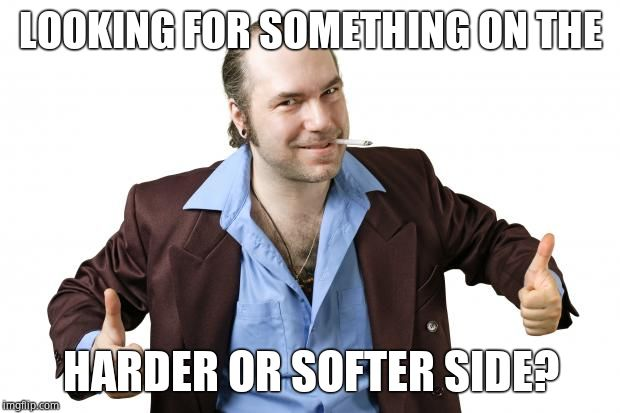sleazy salesman | LOOKING FOR SOMETHING ON THE HARDER OR SOFTER SIDE? | image tagged in sleazy salesman | made w/ Imgflip meme maker