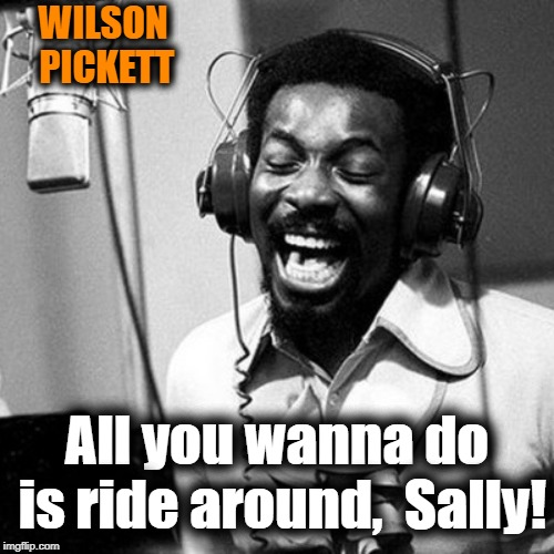 WILSON PICKETT All you wanna do is ride around,  Sally! | made w/ Imgflip meme maker