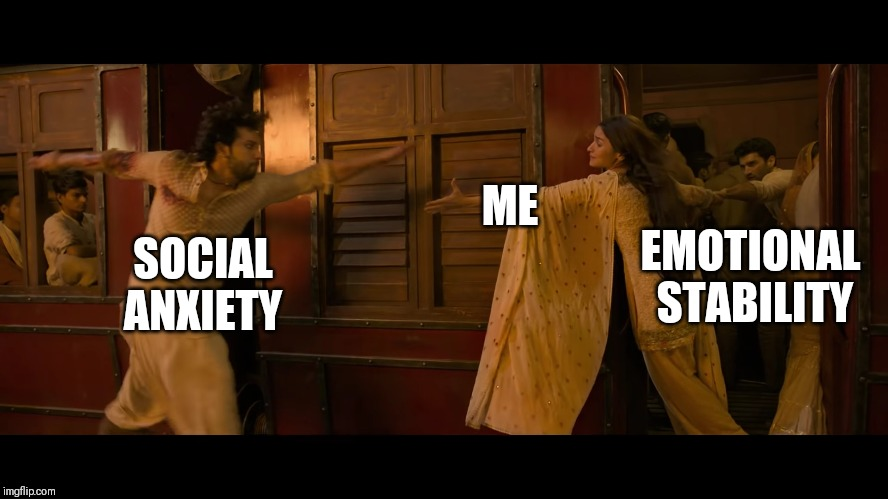 Kalank |  ME; EMOTIONAL STABILITY; SOCIAL ANXIETY | image tagged in social anxiety cat | made w/ Imgflip meme maker