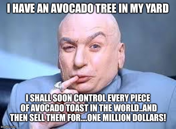 dr evil pinky | I HAVE AN AVOCADO TREE IN MY YARD I SHALL SOON CONTROL EVERY PIECE OF AVOCADO TOAST IN THE WORLD..AND THEN SELL THEM FOR....ONE MILLION DOLL | image tagged in dr evil pinky | made w/ Imgflip meme maker