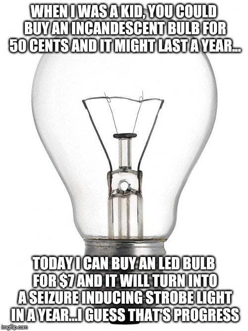 LED Light Flicker |  WHEN I WAS A KID, YOU COULD BUY AN INCANDESCENT BULB FOR 50 CENTS AND IT MIGHT LAST A YEAR... TODAY I CAN BUY AN LED BULB FOR $7 AND IT WILL TURN INTO A SEIZURE INDUCING STROBE LIGHT IN A YEAR...I GUESS THAT'S PROGRESS | image tagged in light bulb | made w/ Imgflip meme maker