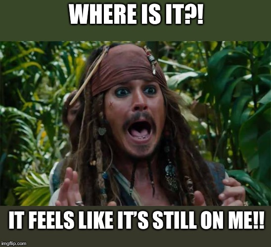 Capt Jack Sparrow Ahhh | WHERE IS IT?! IT FEELS LIKE IT'S STILL ON ME!! | image tagged in capt jack sparrow ahhh | made w/ Imgflip meme maker