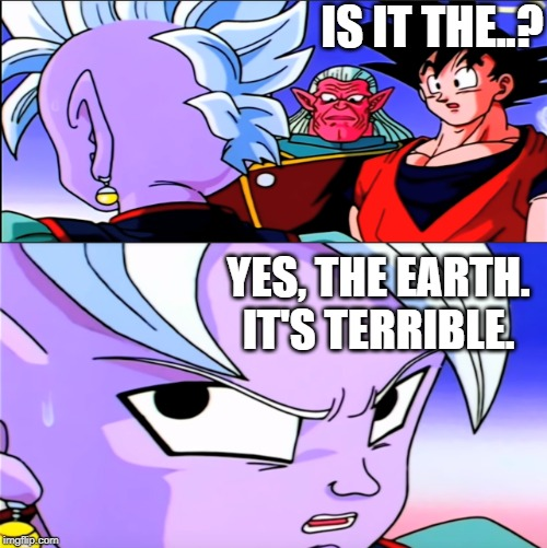 The answer to every question eventually. |  IS IT THE..? YES, THE EARTH. IT'S TERRIBLE. | image tagged in dragon ball z,dragon ball super,dragonball,funny,silly,ridiculous | made w/ Imgflip meme maker