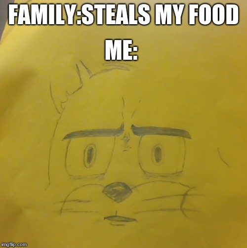Drew it myself | FAMILY:STEALS MY FOOD ME: | image tagged in memes | made w/ Imgflip meme maker