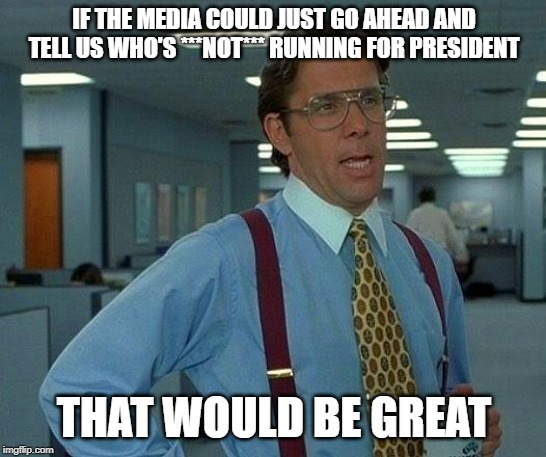 That Would Be Great | IF THE MEDIA COULD JUST GO AHEAD AND TELL US WHO'S ***NOT*** RUNNING FOR PRESIDENT THAT WOULD BE GREAT | image tagged in memes,that would be great,office space,usa,politics,america | made w/ Imgflip meme maker