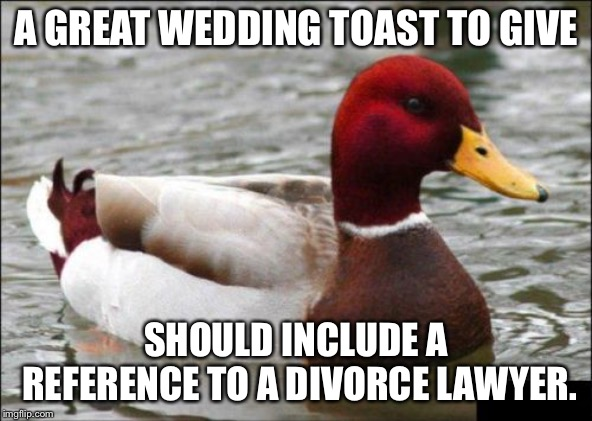 Wedding toast to a divorce lawyer | A GREAT WEDDING TOAST TO GIVE SHOULD INCLUDE A REFERENCE TO A DIVORCE LAWYER. | image tagged in memes,malicious advice mallard,lawyer,divorce,married,wedding | made w/ Imgflip meme maker