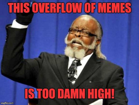 Memes, memes, memes, EVERYWHERE!! | THIS OVERFLOW OF MEMES IS TOO DAMN HIGH! | image tagged in too damn high,everywhere,funny memes,dank memes,great memes,fun memes | made w/ Imgflip meme maker