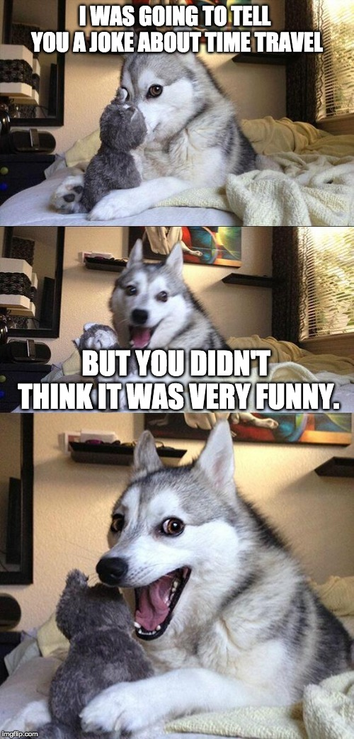 Get it? |  I WAS GOING TO TELL YOU A JOKE ABOUT TIME TRAVEL; BUT YOU DIDN'T THINK IT WAS VERY FUNNY. | image tagged in memes,bad pun dog | made w/ Imgflip meme maker