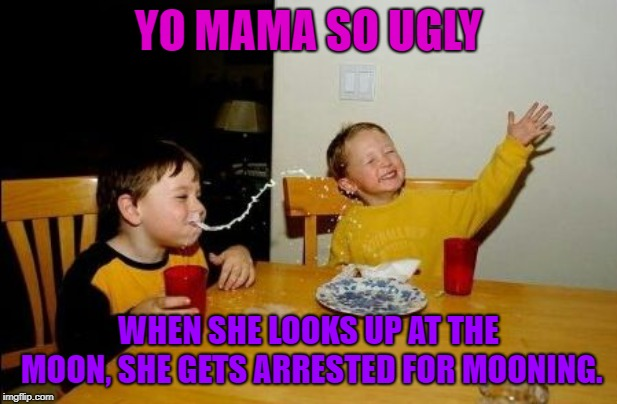 Yo mama so | YO MAMA SO UGLY WHEN SHE LOOKS UP AT THE MOON, SHE GETS ARRESTED FOR MOONING. | image tagged in yo mama so,butts,moon | made w/ Imgflip meme maker