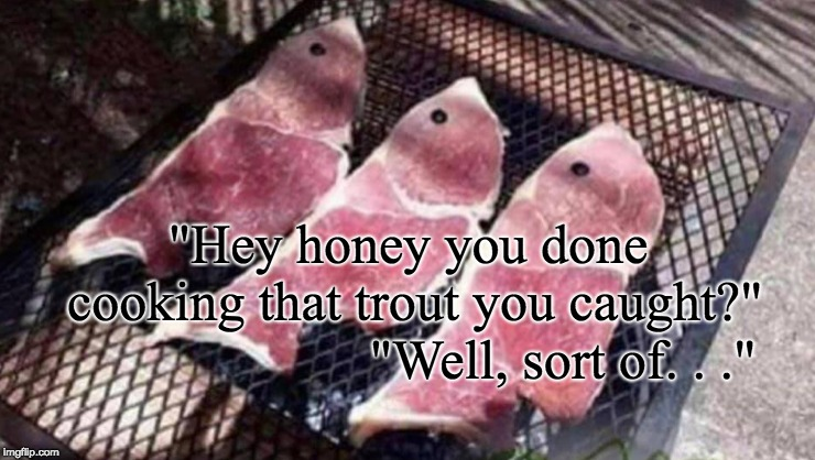 "Not EVERYONE is a good fisherman! | ""Hey honey you done cooking that trout you caught?"" ""Well, sort of. . ."" 