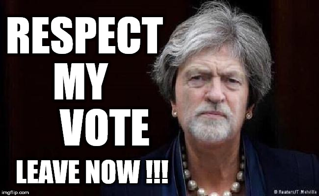 May/Corbyn - Brexit | RESPECT MY       VOTE LEAVE NOW !!! | image tagged in corbyn may,brexit,leave,remain,vote,eu | made w/ Imgflip meme maker
