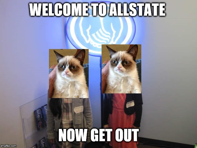 WELCOME TO ALLSTATE NOW GET OUT | image tagged in grumpy cat,memes,allstate | made w/ Imgflip meme maker