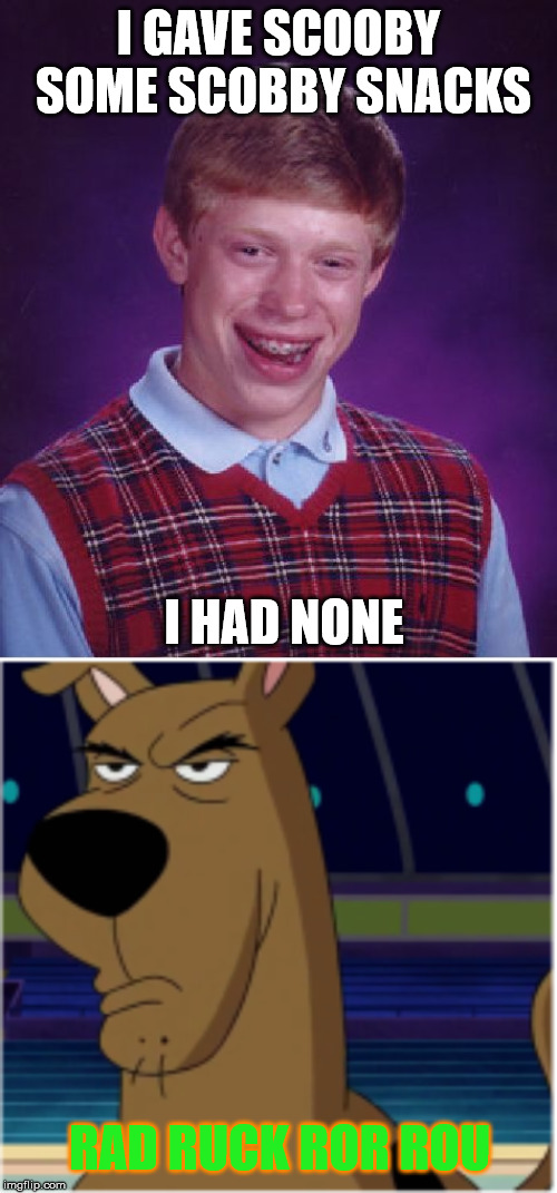 Bad Luck Brian (Scooby Doo Edition) | I GAVE SCOOBY SOME SCOBBY SNACKS I HAD NONE RAD RUCK ROR ROU | image tagged in memes,bad luck brian,scooby doo,cartoons,funny | made w/ Imgflip meme maker