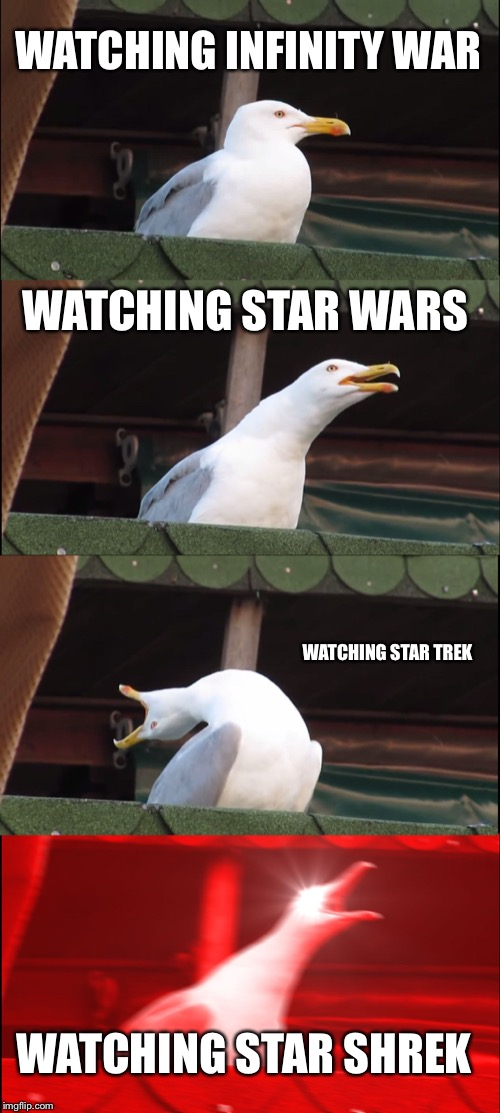 Inhaling Seagull | WATCHING INFINITY WAR WATCHING STAR WARS WATCHING STAR TREK WATCHING STAR SHREK | image tagged in memes,inhaling seagull | made w/ Imgflip meme maker